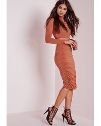 Missguided - Brown Ruched Seam Midi Skirt Rust - Lyst