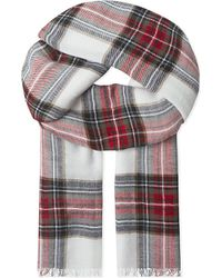 The Kooples | White Echarpe Checked Wool Scarf | Lyst