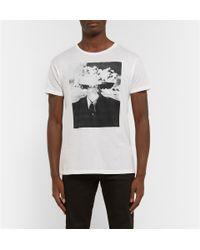 Saint Laurent - White Printed Cotton-Jersey T-Shirt for Men - Lyst