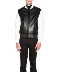 Calvin Klein | Black Men's Iseo Two Tone Leather Plonge Bomber | Lyst