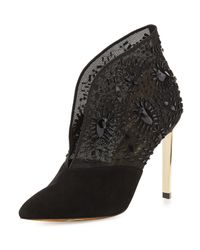 Ted Baker - Black Fausabia Embellished Mesh Bootie - Lyst