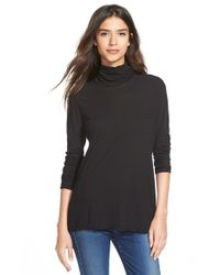 James Perse | Black Split Back Funnel Neck Top | Lyst
