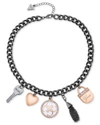Guess - Black Two-tone Crystal And Enamel Charm Necklace - Lyst