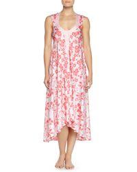 Oscar de la Renta - Multicolor Tiger Lily-print High-low Nightgown - Lyst