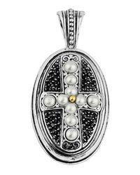 Konstantino | White Oval Spinel & Pearl Cross Pendant Enhancer | Lyst