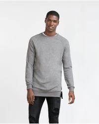 Zara | Gray Side Zip Sweatshirt for Men | Lyst