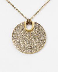 "Michael Kors - Metallic City Disc Pendant Necklace, 15.5"" - Lyst"