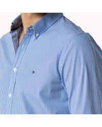 Tommy Hilfiger   Blue Cotton Striped Slim Fit Shirt for Men   Lyst