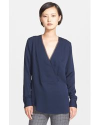 Theory | Blue 'ramalla' Silk V-neck Top | Lyst