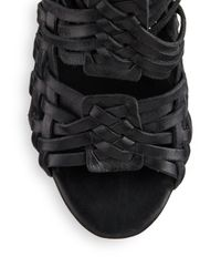 Tory Burch | Black Tevray Woven Leather Wedge Sandals | Lyst