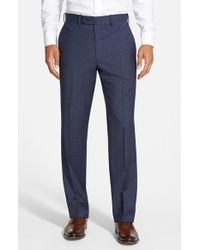 JB Britches - Blue 'torino' Flat Front Check Trousers for Men - Lyst