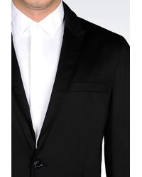 Emporio Armani - Black Runway Jacket In Stretch Cotton for Men - Lyst