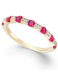 Macy's - Metallic Ruby (5/8 Ct. T.w.) And Diamond Accent Band In 14k Gold - Lyst