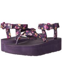 Teva | Purple Flatform Sandal Floral | Lyst