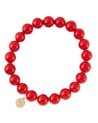 Sydney Evan   8Mm Red Coral Beaded Bracelet With 14K White Gold/Diamond Small Hamsa Charm (Made To Order)   Lyst
