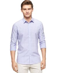 Calvin Klein | Blue Ombre Check End On End Roll Sleeve Sportshirt for Men | Lyst