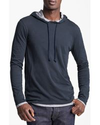 Vince - Blue Double Layer Hoodie for Men - Lyst