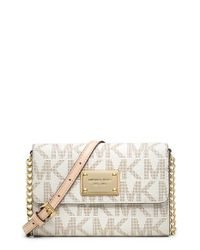 MICHAEL Michael Kors | White Jet Set Large Phone Leather Cross-Body Bag | Lyst