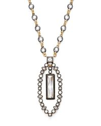 Freida Rothman | Metallic 'metropolitan' Long Pendant Necklace - Gunmetal/ Gold/ Clear | Lyst