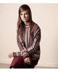 Tory Burch - Red Merino Jacquard Sweater - Lyst