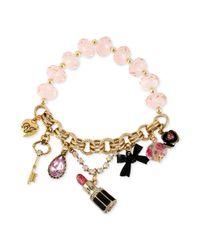 Betsey Johnson - Pink Goldtone Lipstick Multicharm Half Stretch Bracelet - Lyst