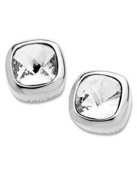 T Tahari | Metallic Cushion-cut Crystal Stud Earrings | Lyst