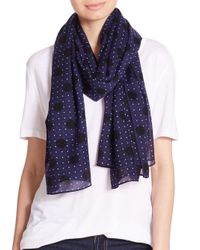 Rag & Bone - Blue Beatrice Dotted Wool Scarf - Lyst