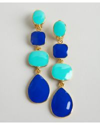Kenneth Jay Lane | Metallic Blue and Turquoise Tiered Enamel Drop Clip On Earrings | Lyst