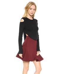 Cushnie et Ochs - Cropped Rib Sweater Black - Lyst