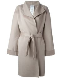 Armani - Gray Belted Coat - Lyst