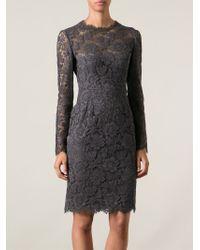 Valentino - Gray Lace Sheath Dress - Lyst