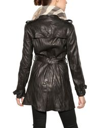 Burberry Brit - Black Iverdown Nappa Leather Trench Coat - Lyst