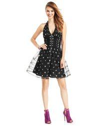 Betsey Johnson - Black Sequin Dot Metallic Halter Dress - Lyst