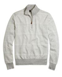 Brooks Brothers | Gray Supima® Cotton Pique-stitch Stripe Half-zip Sweater for Men | Lyst