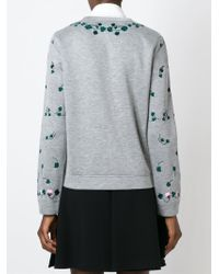 Valentino - Gray Floral-Embroidered Sweatshirt - Lyst