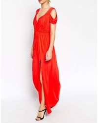 ASOS - Red Tall Wedding Drape Cold Shoulder Maxi Dress - Lyst
