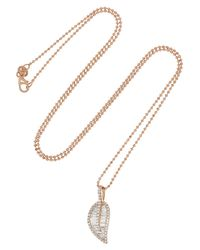 Anita Ko | Metallic Diamond Leaf Pendant Necklace | Lyst