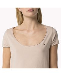 Tommy Hilfiger - Natural Cotton Scoop Neck Top - Lyst
