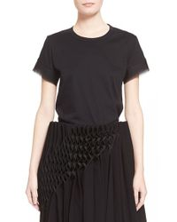 Noir Kei Ninomiya | Black Cotton Tee With Tulle Sleeves | Lyst