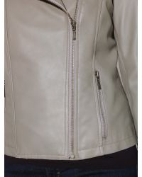 John Lewis - Gray Zip Front Leather Jacket - Lyst