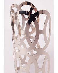Missguided - Metallic Curved Cut Out Cuff Gold - Lyst