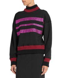 Jonathan Saunders | Purple Renee Glitter-finished Cotton-blend Jersey Sweatshirt | Lyst