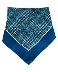Kiton - Blue Check Print Pocket Square for Men - Lyst