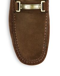 Bally - Brown Suede Logo Bit Drivers for Men - Lyst