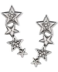 BCBGeneration | Metallic Rhodium-Tone Star Climber Earrings | Lyst