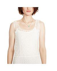 Ralph Lauren - Natural Fringed Lace Sleeveless Dress - Lyst
