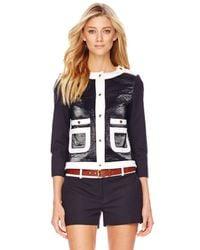 Michael Kors   Black Leather-Front Jacket   Lyst
