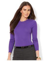 Lauren by Ralph Lauren - Purple Long-Sleeve Crew-Neck Top - Lyst