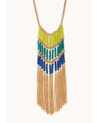 Forever 21 - Blue Fancy Beaded Fringe Necklace - Lyst