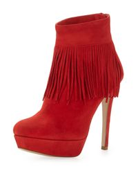 Charles David | Red Lula Fringe-trim Suede Bootie | Lyst